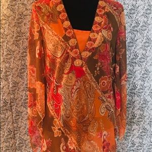 Coldwater Creek blouse. With beaded neckline. Sz L